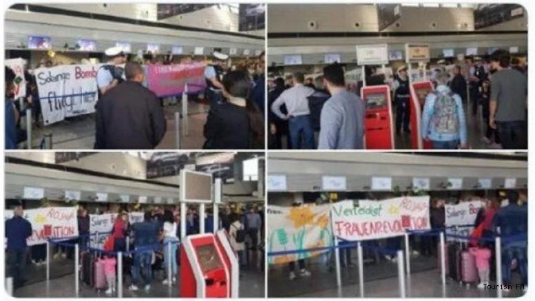Frankfurt Havalimanı'nda çirkin saldırı! THY gişesini işgal ettiler