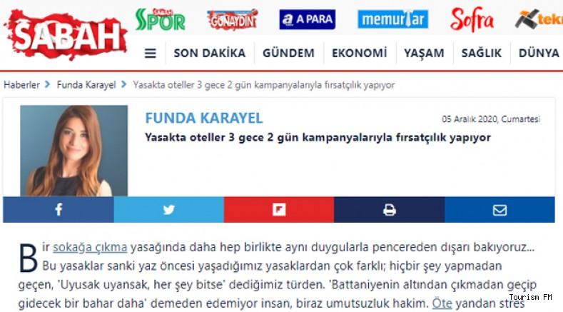 Sabah yazarı Funda Karayel'in 'fırsatçılık' suçlamasına otelcilerden tepki yağdı!